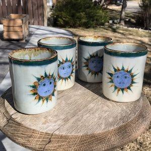 Vintage tonala Mexican pottery signed mugs